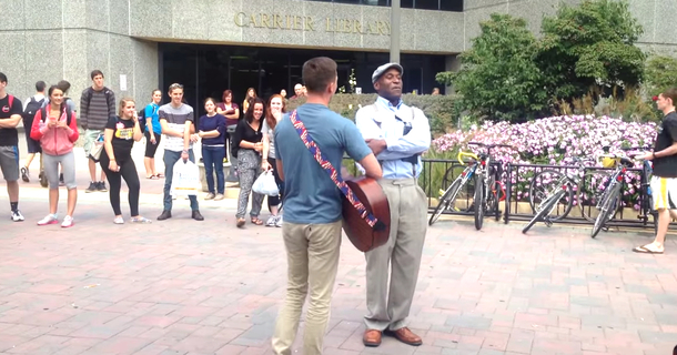 Homophobic Campus Preacher Gets Drowned Out By True Faith And Love
